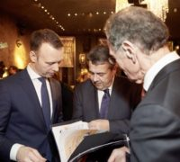 Sven Aufhüppe, Sigmar Gabriel und Bert Rürup, Abendempfang der Asia Business Insights, 28.02.2018 in Düsseldorf