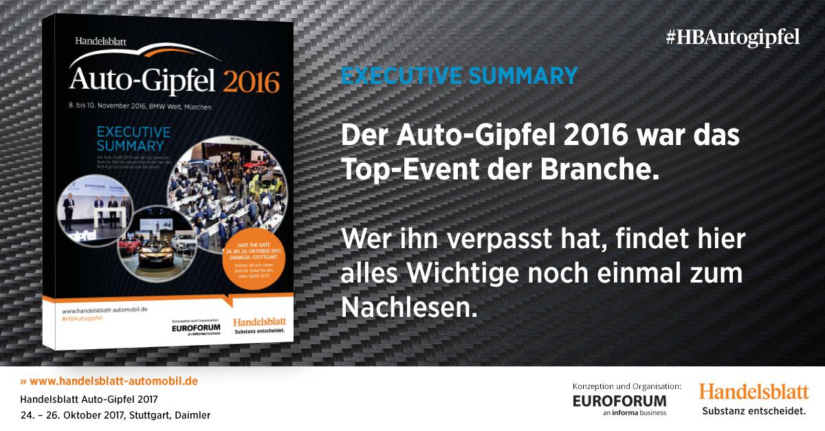 Der Auto-Gipfel 2016 war das Top-Event der Branche. Wer ihn verpasst hat, findet hier alles Wichtige noch einmal zum Nachlesen.