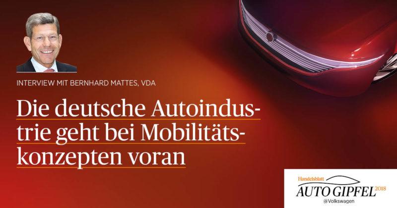 Die deutsche Autoindustrie geht bei neuen Mobilitätskonzepten voran – Interview mit Bernhard Mattes (VDA)