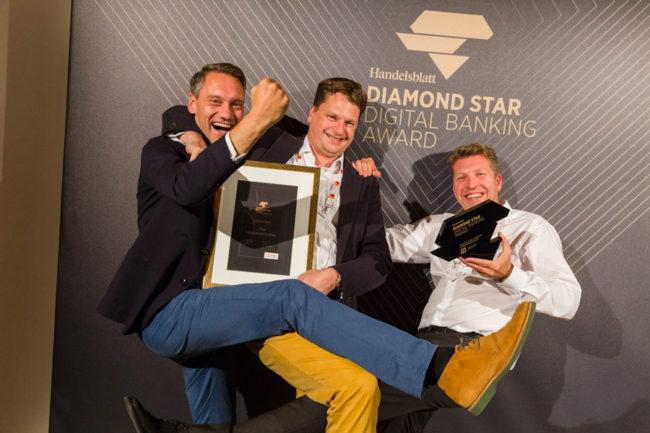 Gewinner der Kategorie Digital Retail Banking: Joris Hensen, Frank Pohlgeers und Waldemar Steinbock von der Deutschen Bank