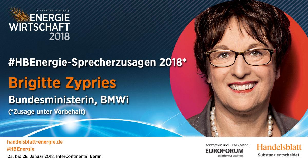 Aktuelle Sprecherzusagen 2018: Brigitte Zypries, Bundesministerin, BMWi (Zusage unter Vorbehalt)