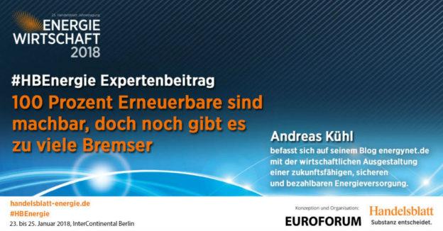 Titelbild: 100 Prozent Erneuerbare sind machbar, doch noch gibt es zu viele Bremser   #HBEnergie-Interview mit Andreas Kühl