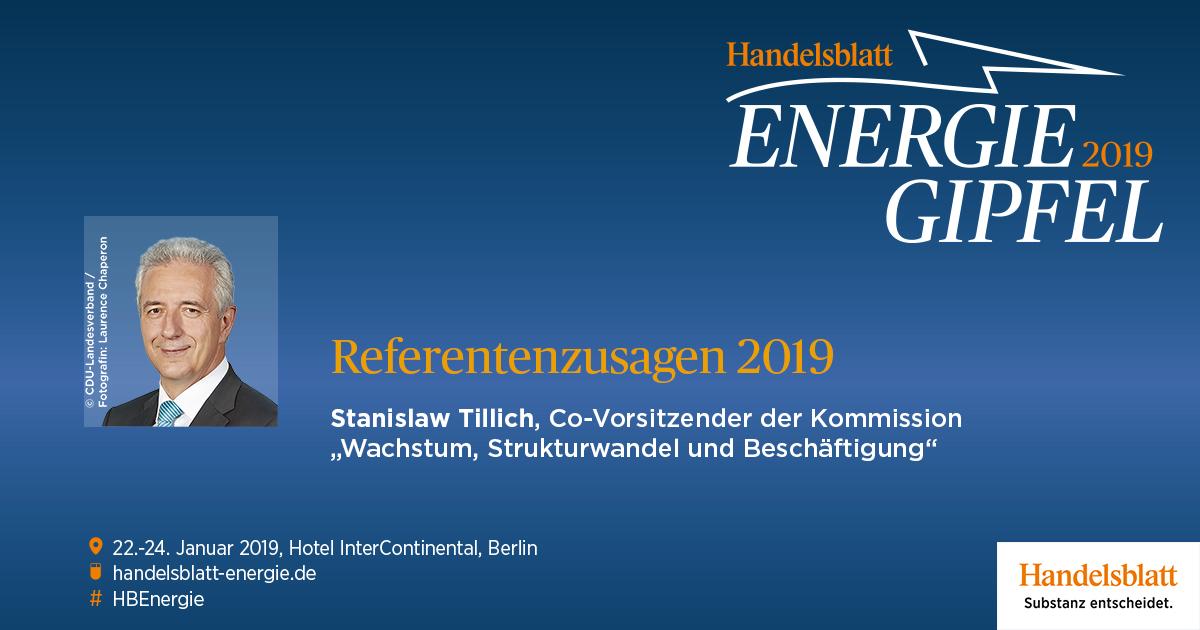 Stanislaw Tillich, Co-Vorsitzender der Strukturwandel-Kommission, hat seine Teilnahme am Handelsblatt Energie-Gipfel 2019 bestätigt.