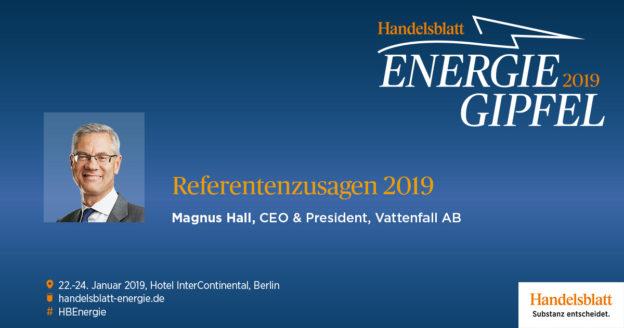 Mit Magnus Hall, dem CEO & President von Vattenfall AB, hat ein weiterer Entscheider aus der Energiebranche seine Teilnahme am Handelsblatt Energie-Gipfel 2019 bestätigt