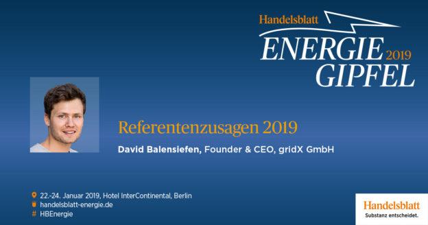 Beim beim Handelsblatt Energie-Gipfel 2019 gibt gridX-CEO David Balensiefen aufschlussreiche Einblicke in sein plattformbasiertes Geschäftsmodell.