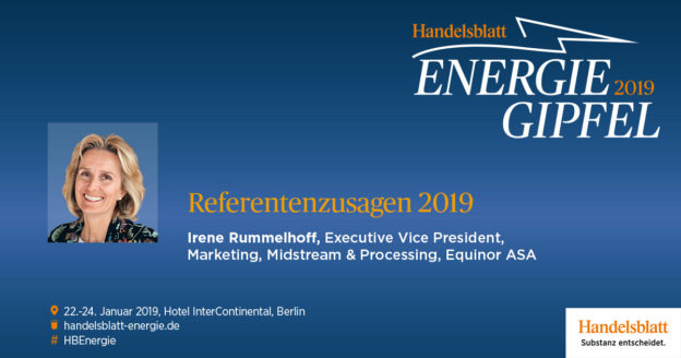 Irene Rummelhoff, Executive Vice President, Marketing, Midstream & Processing der Equinor ASA hat ihre Teilnahme am Handelsblatt Energie-Gipfel bestätigt.