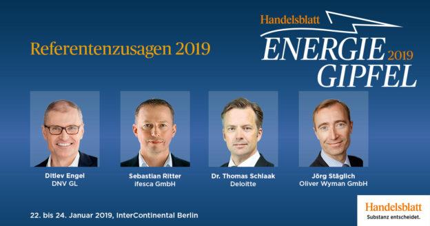 Engel, Ritter, Schlaak, Stäglich: Vier weitere Vordenker und Energieexperten haben ihre Teilnahme als Referenten beim Handelsblatt Energie-Gipfel bestätigt.