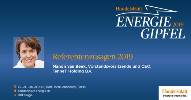 Wir freuen uns, dass Manon van Beek, Vorstandsvorsitzende und CEO der TenneT Holding B.V., ihre Teilnahme am Handelsblatt Energie-Gipfel 2019 bestätigt hat.