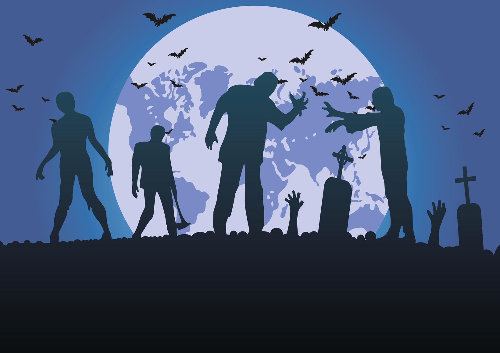 Zombie Silhouetten im Mondschein